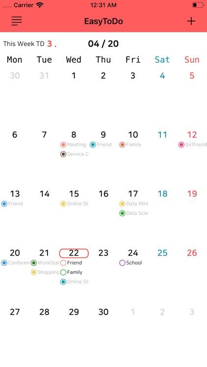 Easy To Do Calendar
