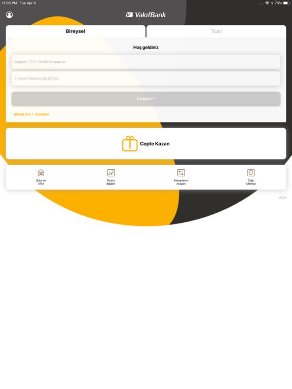 VakıfBank Mobil Bankacılık ipad ekran görüntüleri