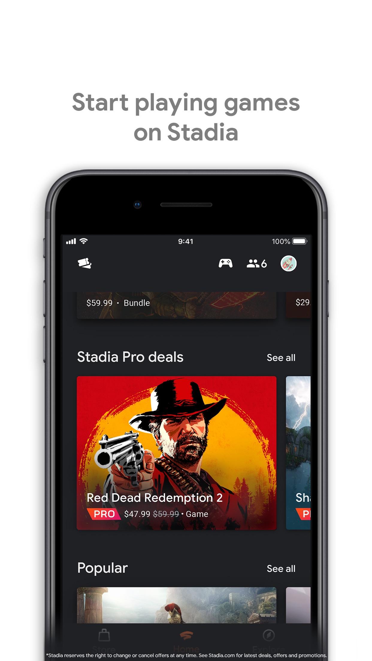 Screenshot do app Google Stadia