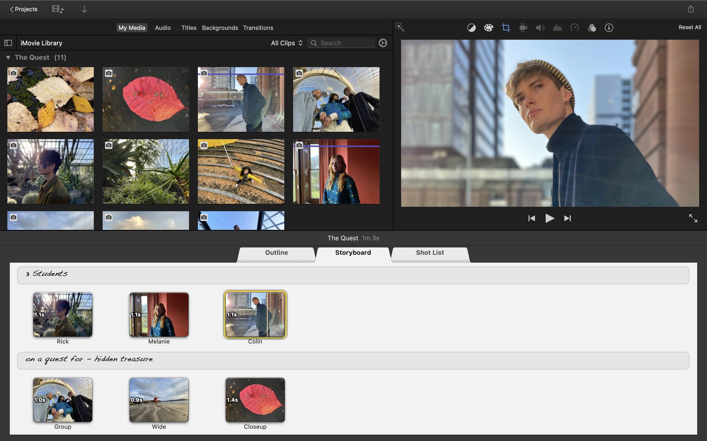 Screenshot do app iMovie