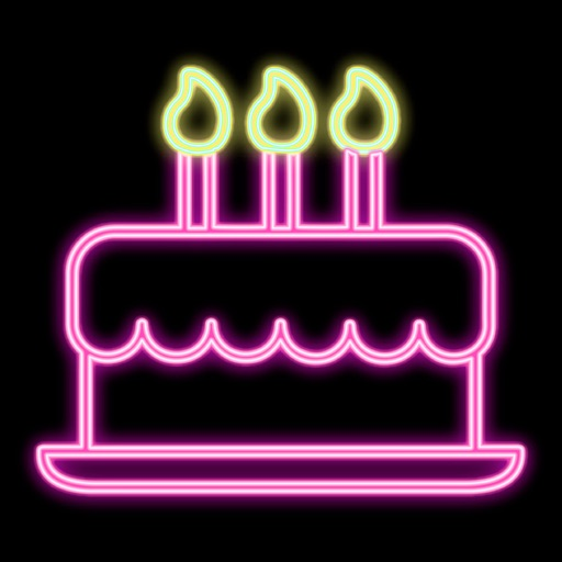 Neon Birthday Stickers