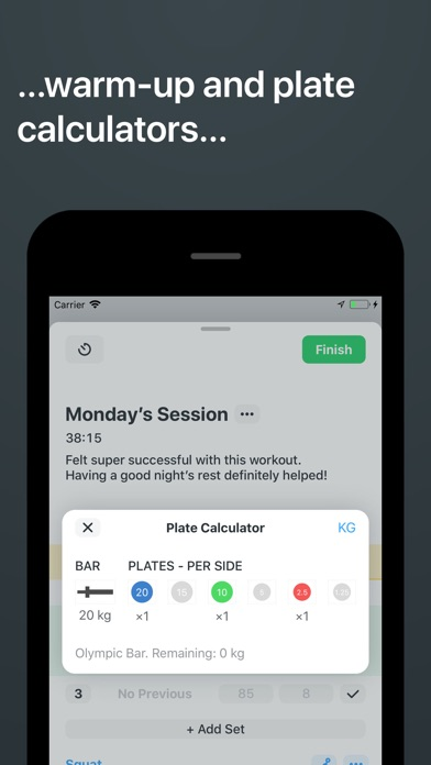 Strong Workout Tracker Gym Log review screenshots