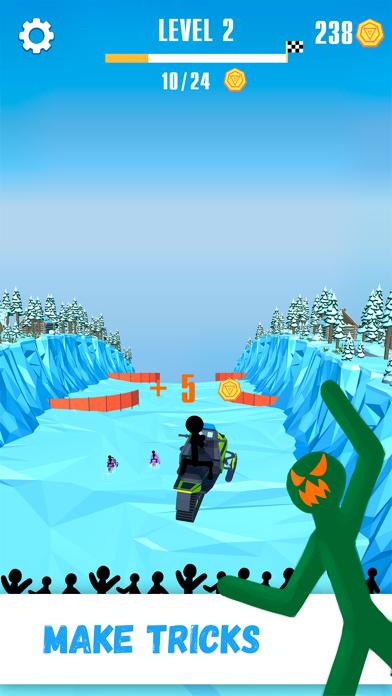 Snowmobile Stickman: Flip Race screenshot two