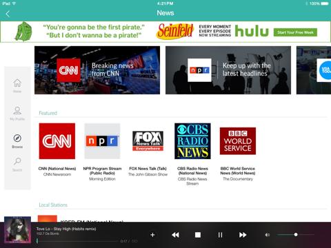 Screenshot of TuneInRadio: Music & Sports