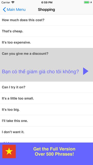 Speak Vietnamese Phrases Lite screenshot three