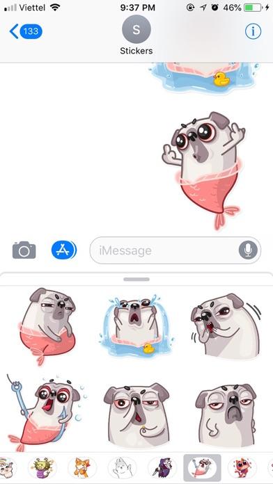 Water Pug Dog Funny Stickers screenshot 3