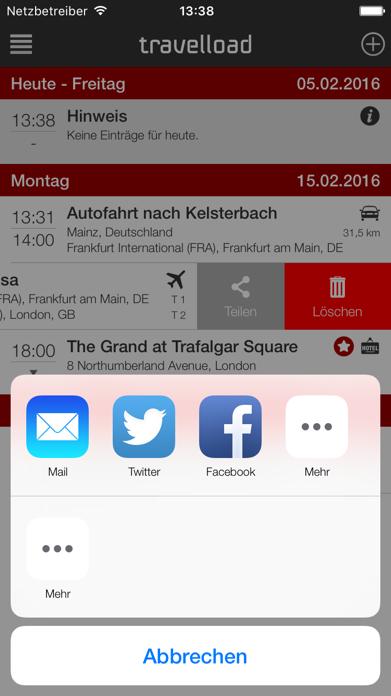 travelload digitaler Reiseplan Screenshot