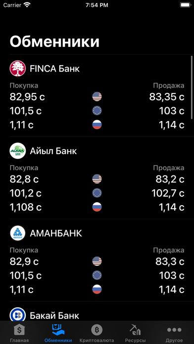 Курсы валют КиргизииСкриншоты 2