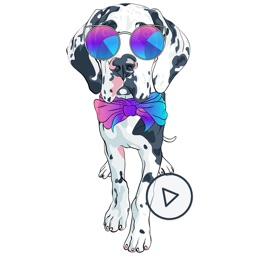 Animated Dotted Dog Stickers