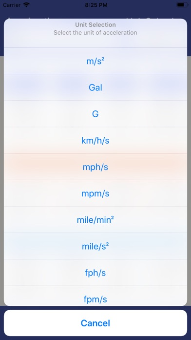 Screenshot for Acceleration Unit Converter in United States App Store