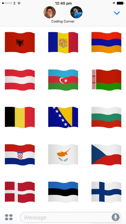 Euro Flags: animated stickers