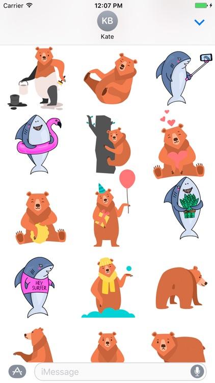 Happy Shark and Bear emoji