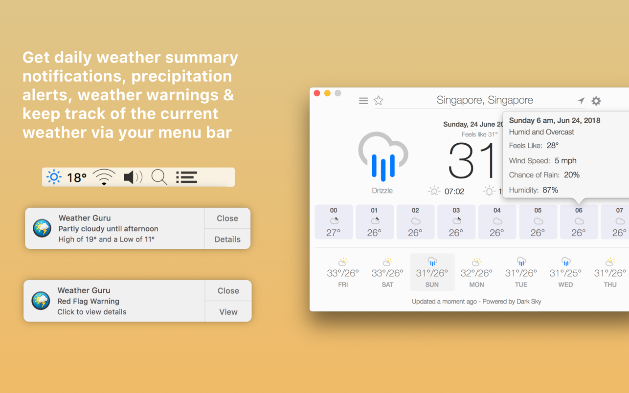 Weather Guru 2.5.0 Mac 破解版 美丽且高精准度的天气预报应用-麦氪搜(iMacso.com)