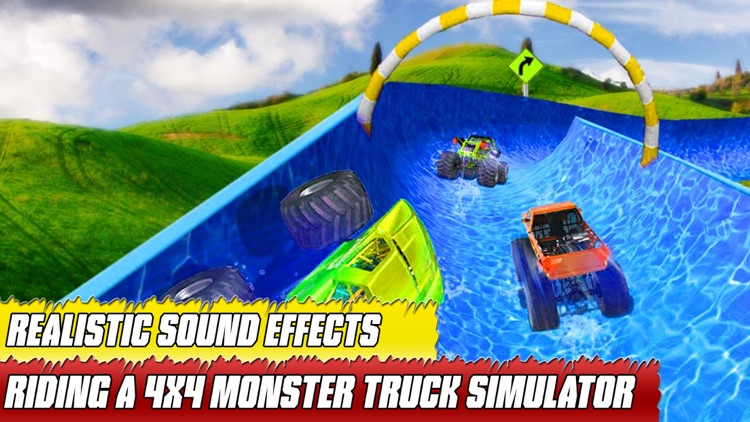 water slide monster truck Race screenshot-2
