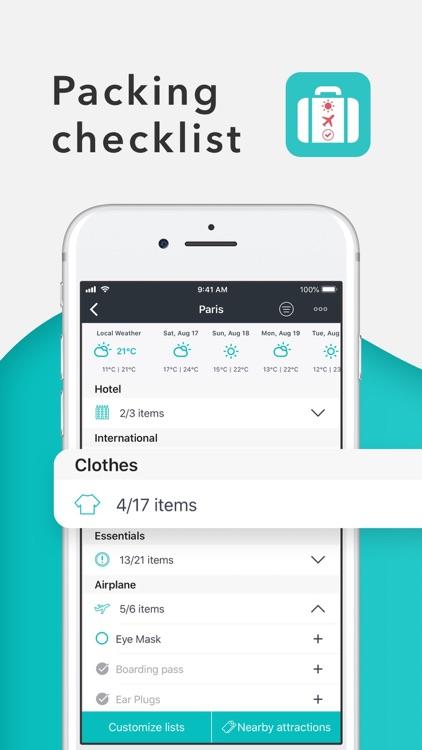Packr Travel Packing List screenshot-0