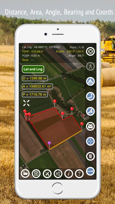 Planimeter - Field Area Measure on Map and by GPS Tracking Screenshot 2
