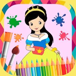 Princesses paint coloring book