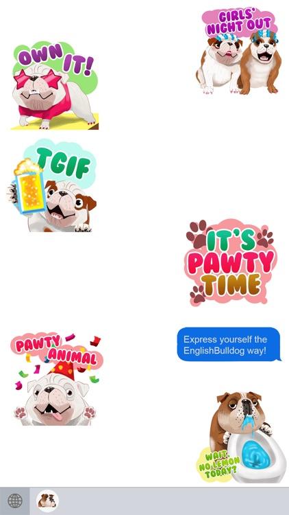 English Bulldog Emoji Stickers by Shelley Peever