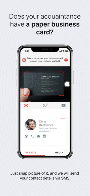 Drop business cards contacts on the app store screenshots colourmoves
