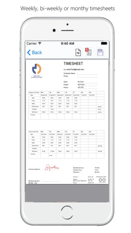 timesheet pdf by mobile and database solutions