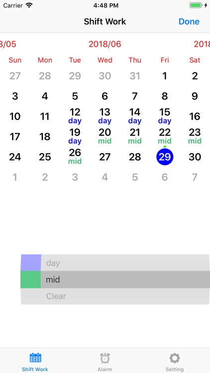 Shift worker's calendar screenshot-1