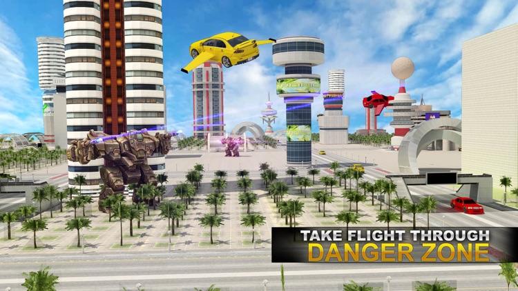 Future Flying Super Car: Robot Fighter Stunts 3D