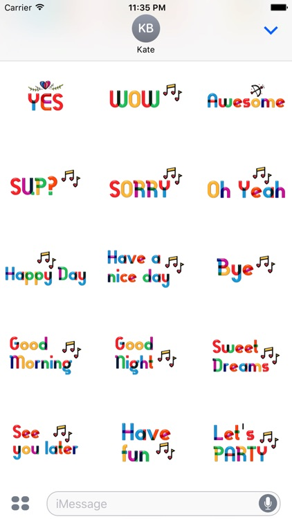 Lovely Colorful Glass Sensitive Word Stickers screenshot-4