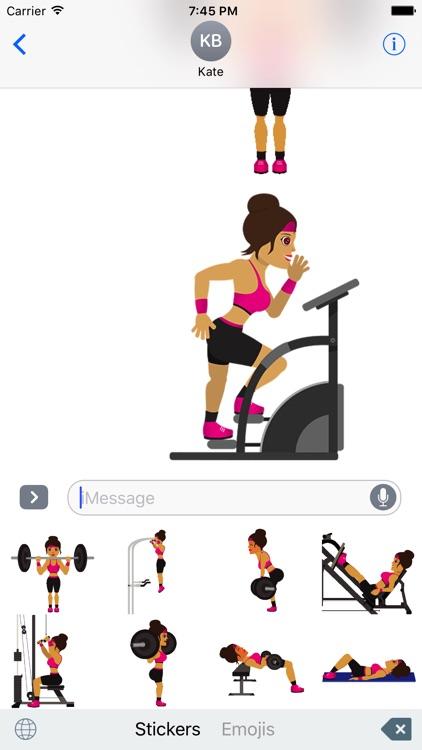 FitGirlMoji -Workout & Gym Emoji Animated Stickers screenshot-3
