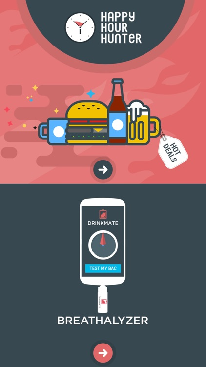 DrinkMate - Find Happy Hour Deals + Breathalyzer
