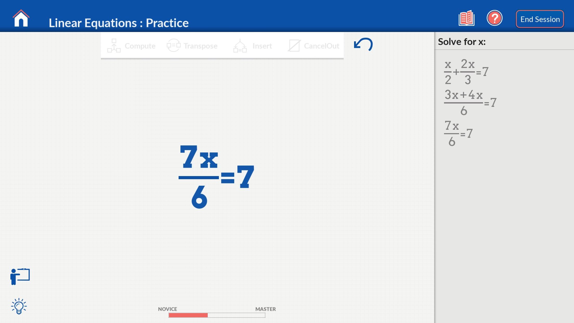 Algebra on Nudge Screenshot