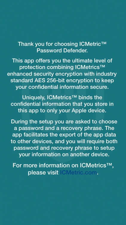 ICMetrics Password Defender