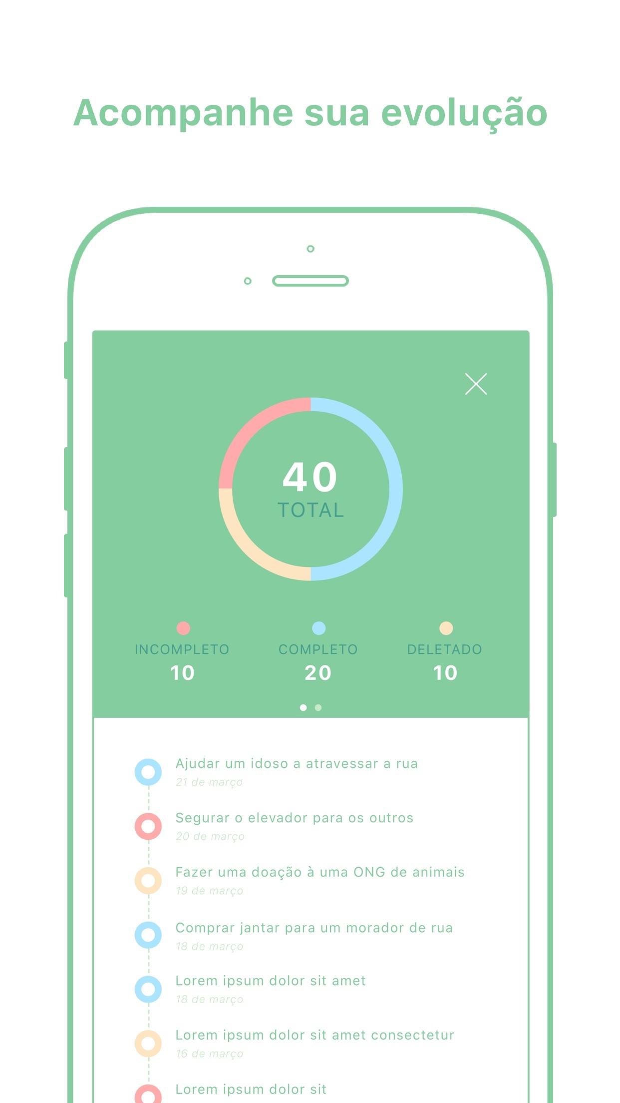 Screenshot do app Kiwi: cultive bons hábitos