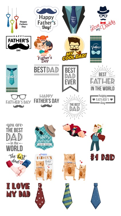 Father's Day Stickers #1-Illustrated and Photo Art
