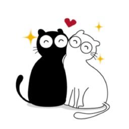 Black And White Kitty Love Sticker