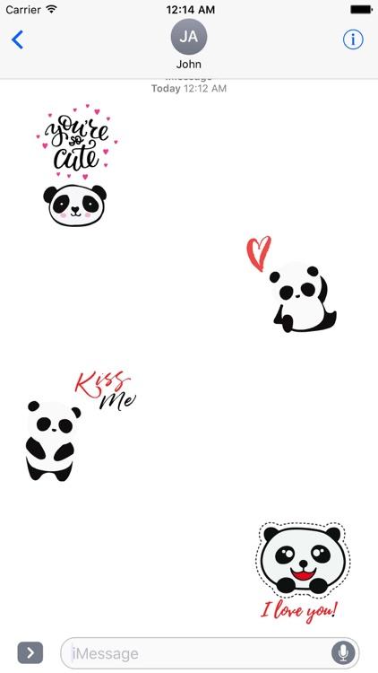 Cute Panda Love Sticker Pack
