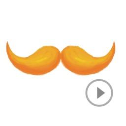 Animated Watercolor Mustache Sticker