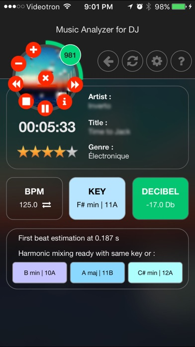 Music analyzer for DJ : Build and manage your next DJ mix with Bpm, Harmonic keys and Decibel like Pro screenshot