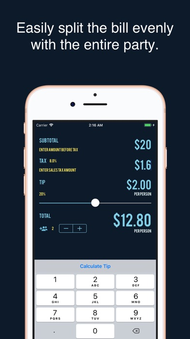 Tipping & Splitting Calculator screenshot