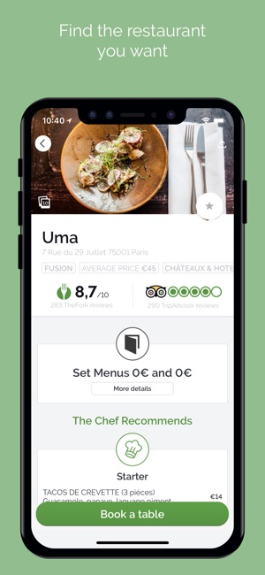TheFork Restaurants Bookings On The App Store - Restaurant table booking app