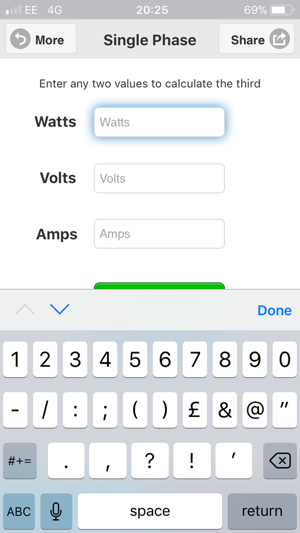 watts amps volts calculator on the app store. Black Bedroom Furniture Sets. Home Design Ideas