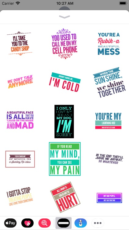 Song Lyrics and Quote Stickers