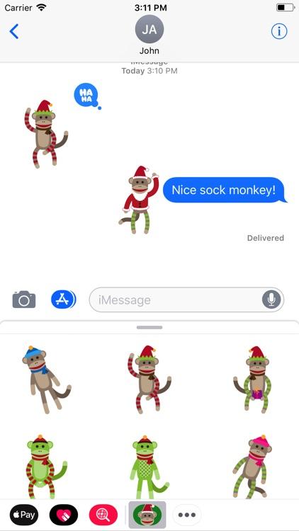 Merry Sock Monkey Stickers screenshot-3
