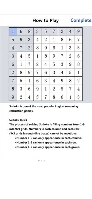 Play between 1 and 9 sudoku