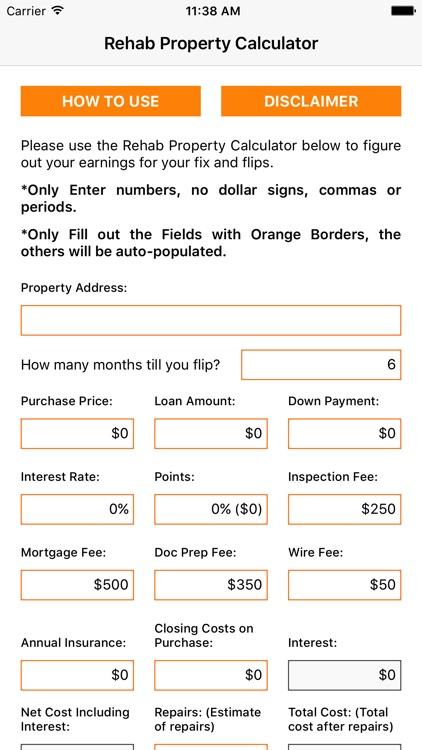 Rehab Property Calculator