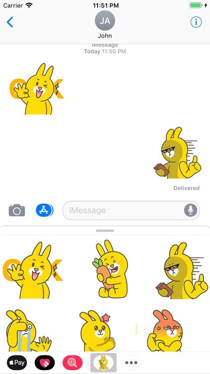 Yellow Bunny Animated Stickers