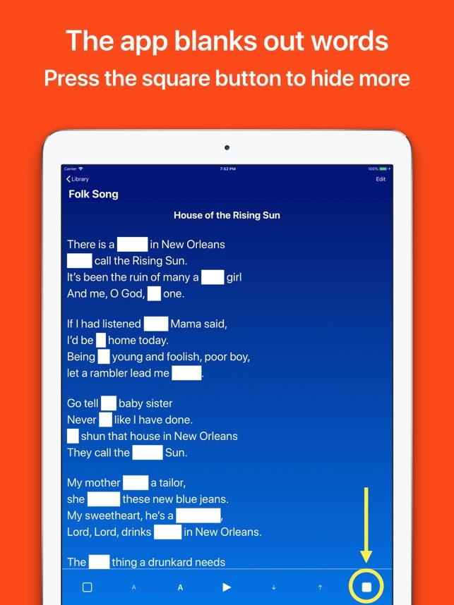 Memorise texts, lyrics, poems Screenshot