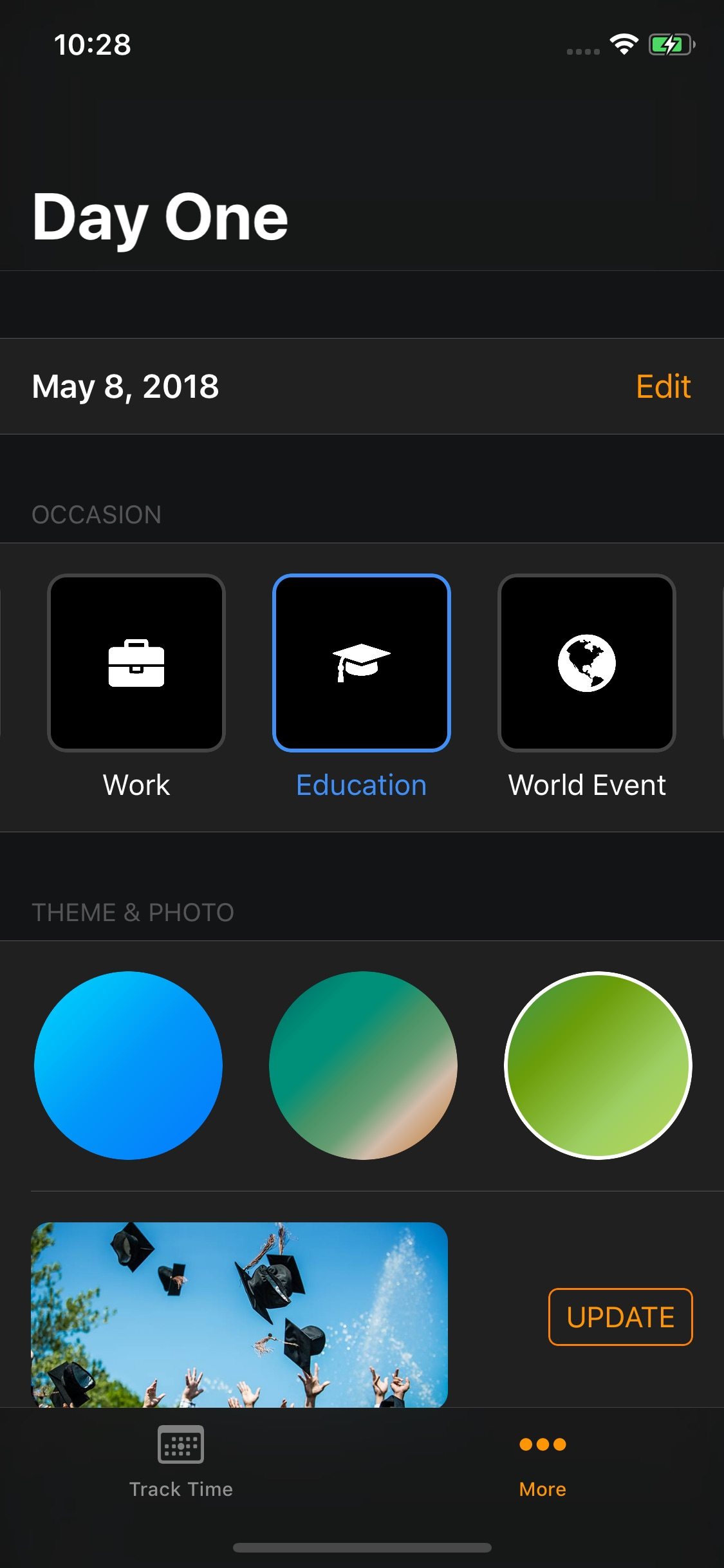 Screenshot do app Day One — Life Events