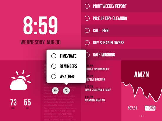 Morning — Weather, To-Do, News Screenshots