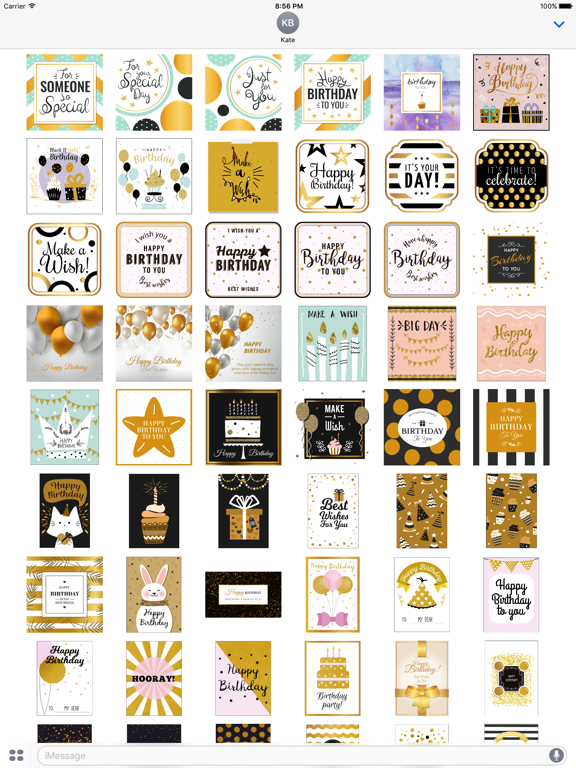Birthday Card - Collection of Gold Style Stickers screenshot 6
