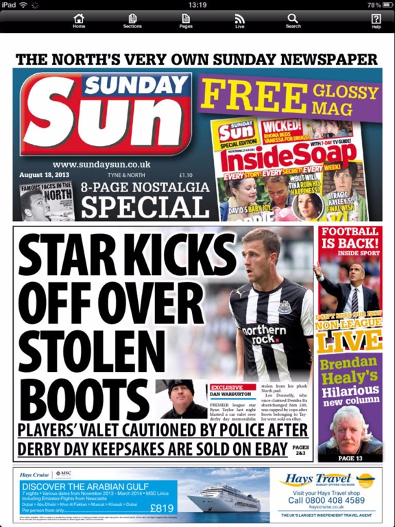 Sunday Sun Newspaper screenshot one